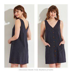 Mia + Tess ▪ Sleeveless Navy Button Striped Dress